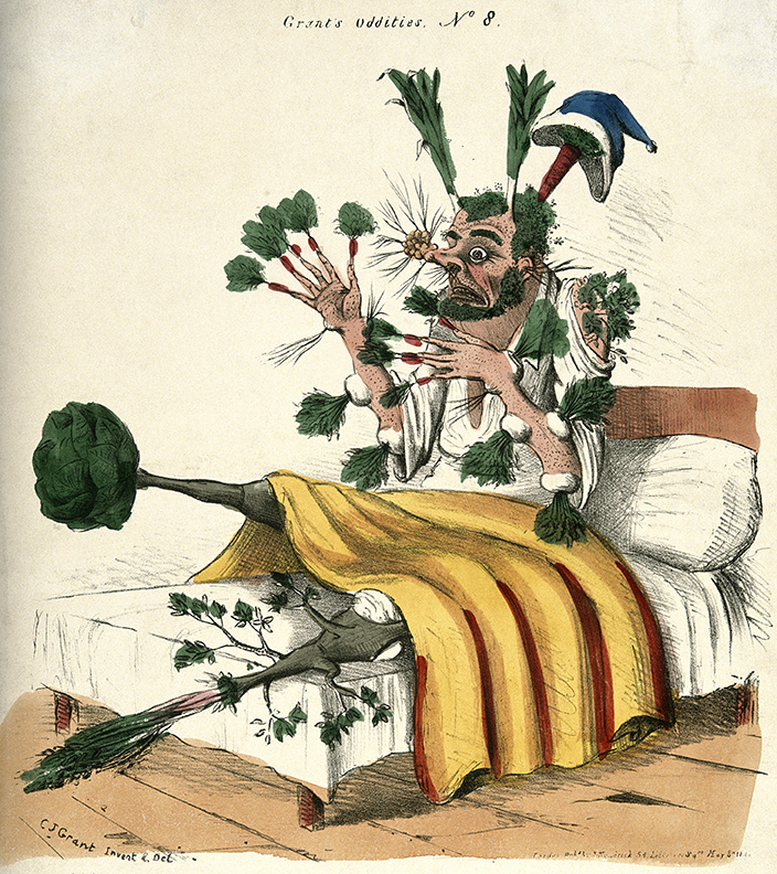 A man in bed with vegetables sprouting from all parts of his