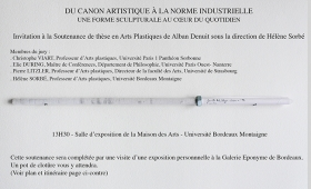 Invitation à la Soutenance de thèse en Arts Plastiques d'Alban Denuit